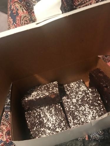 Yummy gluten free brownies from a sweet new friend of ours.